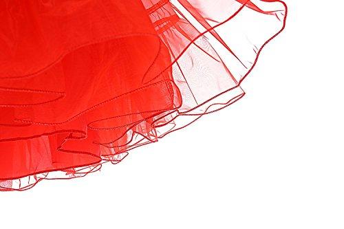 Minetom 50er Jahre Petticoat Vintage Reifrock Unterrock Petticoat Underskirt Crinoline für Wedding Bridal Rockabilly Kleid Rot