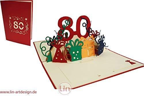 Lin Cartes de vœux d'anniversaire pop-up bleu