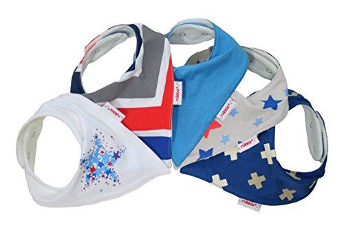 Babystar – Packung mit 5 nikkis® Baby Sabber Lätzchen – 100% saugfähige und weiche Jersey Baumwolle Halstücher (Premiumqualität) – Auch als Geschenk geeignet (trendy & cool) (Bib Baby-cool)