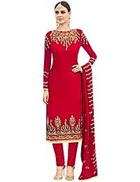 Red Salwar Kameez Vestido de Mujer musulmán de la India Bollywood Shalwar Rakhi Eid Formal de