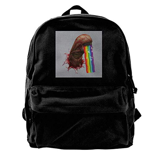 YANNAN Canvas Backpack Alien Chestburster Puking Rainbow Snapchat Filter Rucksack Gym Hiking Laptop Shoulder Bag Daypack for Men Women