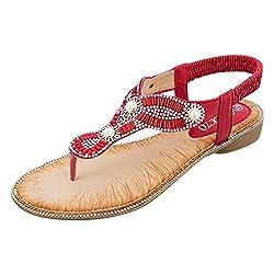 HDUFGJ Sandalen Damen Sommer Bohemia Flach Sandaletten Zehentrenner Trekking- & Wandersandalen Dusch Aqua Schuhe Peeptoe Strandschuhe Pantoletten Clogs40 EU(rot)