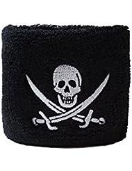 Schweißband Motiv Fahne / Flagge Pirat mit zwei Schwertern + gratis Aufkleber, Flaggenfritze®