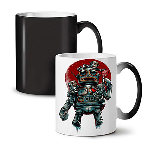 Crazy Robot Color Changing Mug, Mechanical Cup - Large, Easy-Grip Handle, Heat Activated, Ideal for Coffee & Tea Drinkers, Made by Wellcoda
