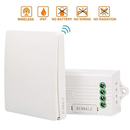 Interruptor de Luces Inalámbricas Kit Autoalimentado Batería Transmisor Receptor Interruptor inalámbricas para...
