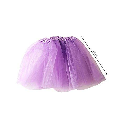 (MAXCS Damenrock Mädchen Ballett Tutu Tüllrock Partyrock 3-lagig. lila. 25cm)