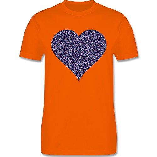 Vintage - Herz Blumen dunkelblau - Herren Premium T-Shirt Orange
