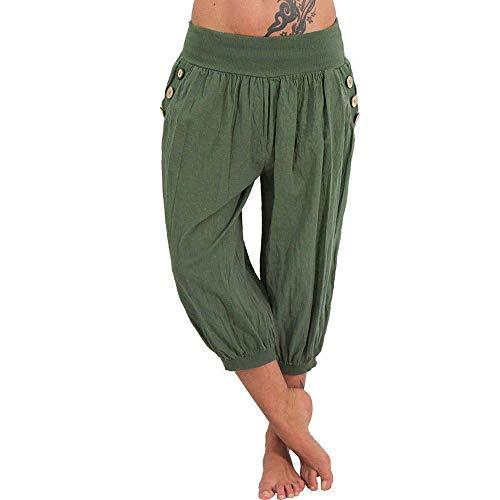 Doublehero Damen Blumen Druck Freizeithose Strandhose Haremshose Yoga Hose High Taille Weich Bequem Lose Sporthose mit Taschen (XXXXXL, Grün)