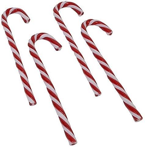 4 Set CHICCIE Deko Zuckerstagen 15cm Rot Weiß - Künstlich Christbaumschmuck Weihnachten Deko