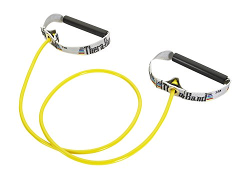 Thera-Band Professional Latex Resistance Tubing with Handles For Upper-Body Exercise, Rehab and Conditioning, Hard Handles, 48 Inch, Yellow, Thin, Beginner Level 2