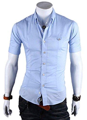 Homme Casual Chemisette Chic Chemise Manches Courtes Habillee Slim Fit en Couleur divers Bleu