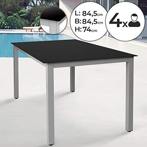 Jago Aluminum Gartentisch | 84,5x84,5x74 cm, für 4 Personen, mit Glasplatte in Schwarz, Quadratisch | Alu Tisch, Glastisch, Balkontisch, Terrassentisch, Gartenmöbel
