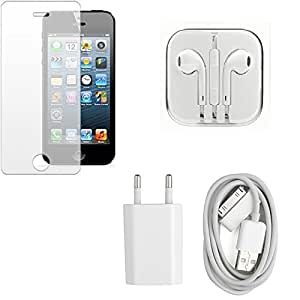 High Quality Temper Glass Screen Guard, Head Phone, Charger for Apple iPhone ...