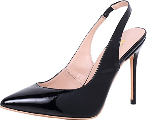 ELEHOT Donna Gemini tacco a spillo 10CM Leather Sandali, nero, 35.5