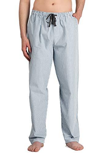 Marine-blau Pyjama (Moonline - Herren Webhose Freizeithose Loungewear aus 100% Baumwolle, Farbe:Marine/weiß, Größe:46/48)
