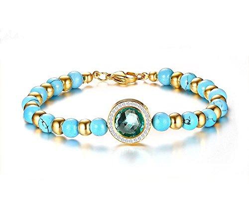Vnox Perline turchese ovale femminile braccialetto di cristallo di zirconi,20,5 cm