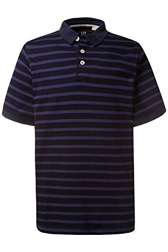 JP 1880 Herren große Größen | Poloshirt aus Baumwolle | Streifen | Seitenschlitze | Polohemd mit Knopfleiste, Polokragen & Kurzarm | Bis Größe 7 XL | 708306 Blue