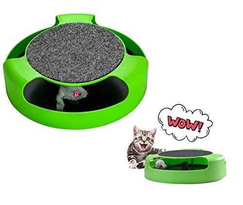 Ducomi Interaktives Spielzeug für Katzen mit Kratzbaum – Interaktives Spielzeug mit Maus aus Peluches von Acchiappare – Toilette und Spaß in einem Spielzeug