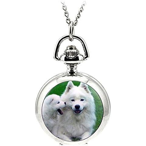 ANNA&JOE Dibujos animados retro esmalte largos collares para perros reloj de cuarzo reloj de bolsillo