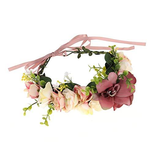 VADOO Boho Blume Stirnband Girlande Krone - Handgemachte Floral Haar Kranz mit Verstellbaren Band für Festival Hochzeit (Mutter Und Kleinkind Tochter Kostüm)