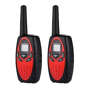 Floureon Deux paires 8 canaux Talkie Walkie UHF400-470MHZ 2-Way Radio Gamme de 3 kilomètres Interphone Orange pour en contact avec enfants copins etc (White)