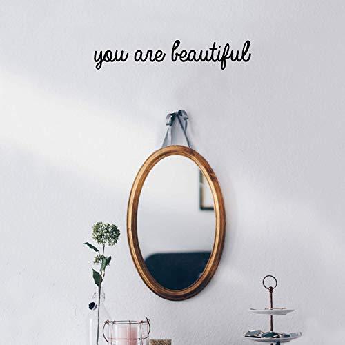 """Wandaufkleber aus Vinyl, mit englischer Aufschrift \""""You are Beautiful - 7,6 x 38,1 cm - modernes inspirierendes Zitat für Zuhause, Schlafzimmer, Badezimmer, Schminktisch, Spiegel, Büro Dekoration"""