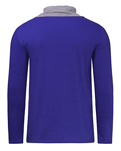 MODCHOK Herren Shirt Langarmshirt Sweatshirt Pullover Hoodie Hoodiesweater Gefälschte Zwei Blau
