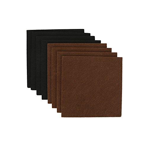 Shintop 8 Stück Filzgleiter Set, Möbelfilz Selbstklebend Schneidbar zu jeder Form, Schützt Hartholz und Laminat-Fußböden, 15 x 15 x 0.4 cm (Schwarz und Braun)