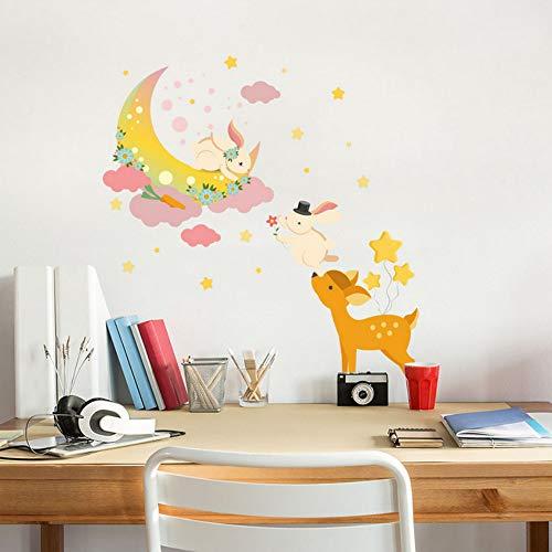 Yzybz Cartoon Wandaufkleber Ausgangsdekor Niedlichen Tier Fawn Moon Kaninchen Aufkleber 50 * 70 Cm Für Kinder ()