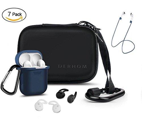 Earpods Zubehör - Derhom Wasserdichte Silikon-Fall-Abdeckung mit Anti-verlorenen Gurt, Ohrhaken, Schlüsselanhänger, Kopfhörer Zubehör Lagerung Reisetasche (Blau) Kopfhörer-fall