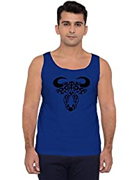 American-Elm Men's Royal Blue Cotton Black Bull Printed Round Neck Vest