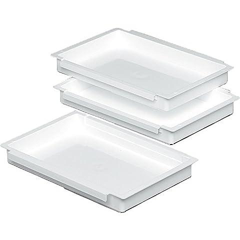 Unimet 6500 - Kit de 3 bandejas de plástico para empanar/rebozar (27 x 17 x 3,5 cm), color blanco