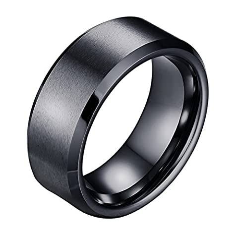 OAKKY Mens Tungsten Carbide Rings Brushed Engagement Wedding Band Beveled