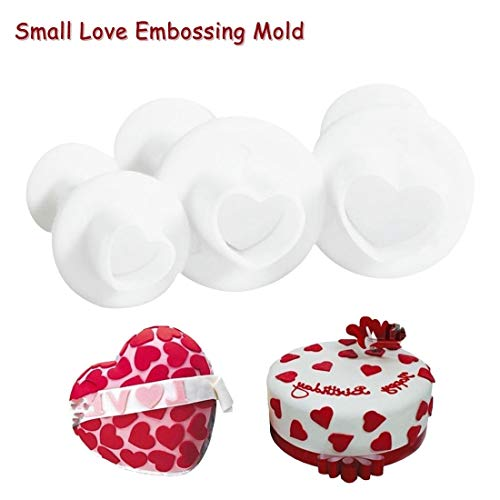 1 Stück 3pcs Love Heart Shape Cookie Plunger Cutter Fondant Gummi Paste Cupcake Toppers Mold Biscuit Christmas Cake Decorating Tool (Cupcake Toppers Christmas)