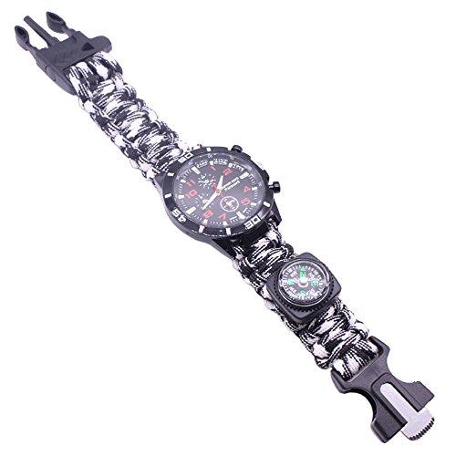Outdoor Survival Uhren Militär Herrenuhren Arabische Ziffern Dekorative Sub-Dials Kompass Paracord Seil Armband Handgewebt Armbanduhren für Herren, Schwarz Weiß Camouflage