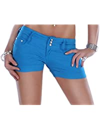 Damen Jeans Shorts mit Strassdetails und breitem Bund in 7 verschiedenen Farben Hosen Jeansshorts Damenshorts Kurze Hose