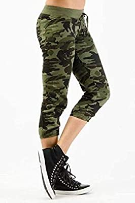 Rooliums® (Brand Factory Outlet Capri Pant Army Style, Army Joggers for Women, Army Track Lower for Sports Gym Athletic Training Workout - Green Camouflage Print - Free Size