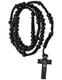 6daf0d6e4718 KINTRADE Collar de Rosario de Perlas de Madera católica con Sello de Jesús  Joyas religiosas de