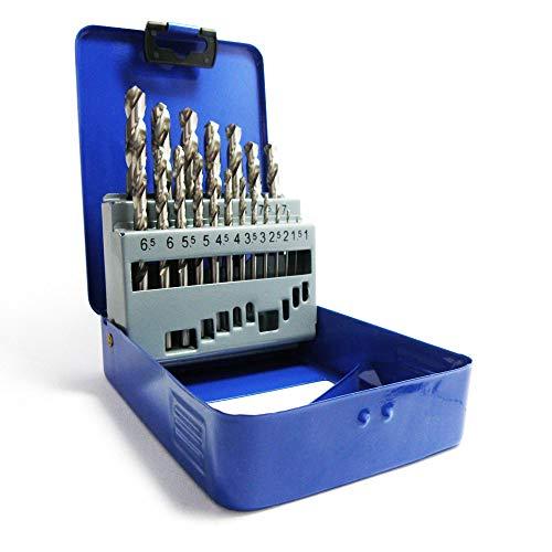 S&R Metallbohrer Set 1-10mm 118°, 19 Stk, GM-Serie DIN 338, geschliffen, HSS-Stahl, Metallbox, Profi-Qualität