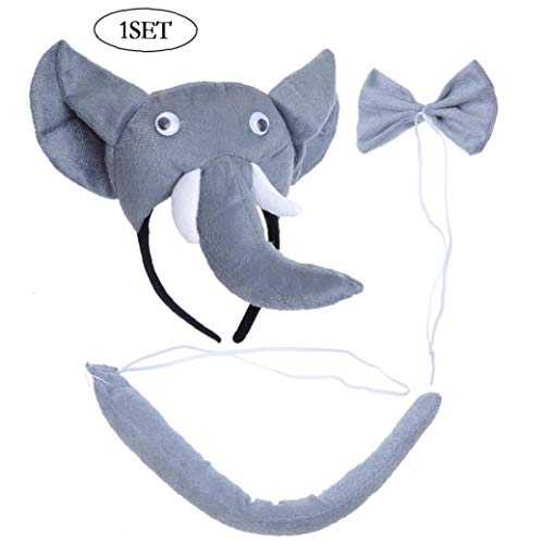 3 PC-Grau Farbiger Elefant-Kopf-Trunk Ribbonbow Schwanz Kostüm Dressup (Trunks Up Dress)