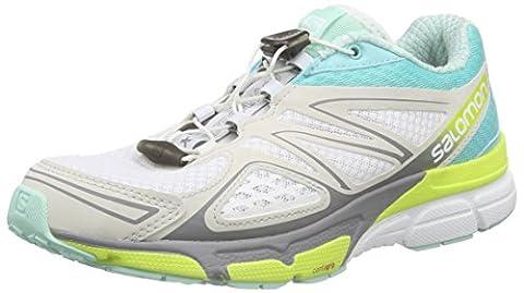 Salomon X-Scream 3D, Chaussures de Running Compétition Femme, Multicolore (White/Bubble Blue/Gecko Green), 38 EU