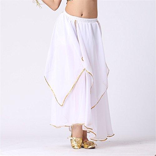 Donne Danzawear Long Danza del ventre Gonne Tribal Multi-layered Gonne Danza Costumes White