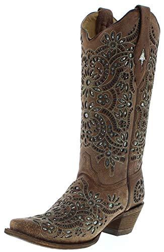Corral Boots Damen Cowboy Stiefel A3352 Brown Lederstiefel Braun 40.5 EU (10 US) - Distressed Braun Cowboy Stiefel