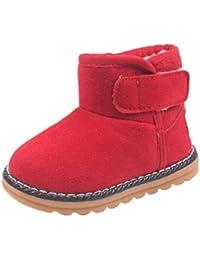 Zapatos de Niños Niños Niñas de piel, Koly botas invierno gruesa de nieve (21_cm, Red)