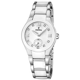 Festina F16588/2 – Reloj analógico de pulsera para mujer (mecanismo de cuarzo, esfera blanca y correa de acero inoxidable blanco)