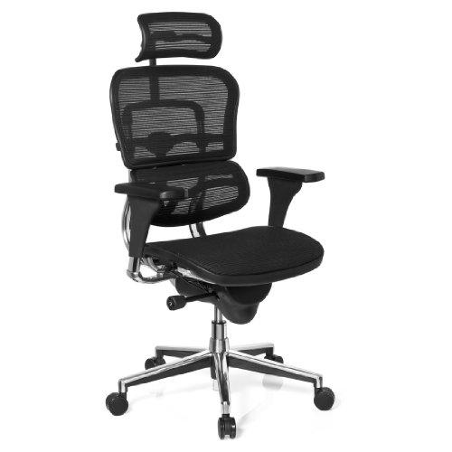 hjh OFFICE 652980 Bürostuhl, Chefsessel Ergohuman Base One Netzstoff schwarz