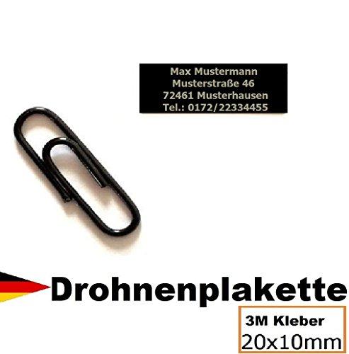 Micro Drohnenkennzeichen 20x10mm mit hochwertiger Lasergravur inkl. stark haftendem Klebestreifen Drohnen-kennzeichen Adressschild Modellflug Kennzeichen Kennzeichnungspflicht