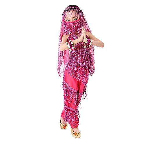 SymbolLife Mädchen Bauchtanz Kostuem kinder tanzkleid, Trägertop + Pluderhosen + Kopftuch+ Armbänder+ Handtuch L Rosa