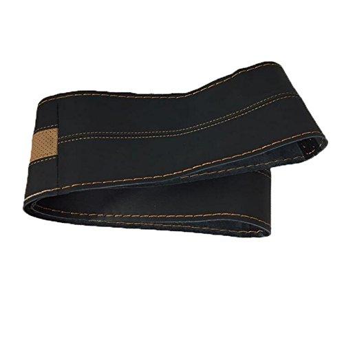 QLL 2018 Neue Auto Lenkrad Abdeckung Sport Massage Hand genäht Lederbezug, black brown, 39CM