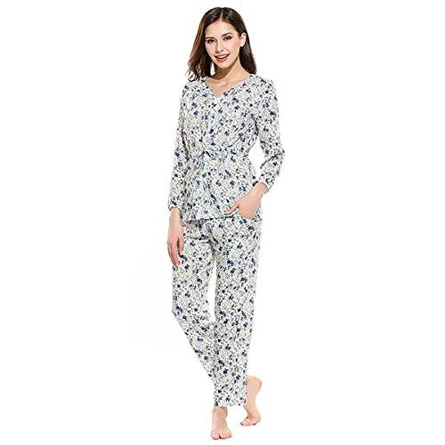 WDDGPZSY Nachthemd/Nachtwäsche/Schlafhemd/Homewear/Pyjamas/Sleepwears Frauen Rayon Pyjama Set V-Ausschnitt Long Top Und Hose Nachthemden Blue Floral Nachtwäsche Casual Adult Pyjamas, Blau, Xxl -